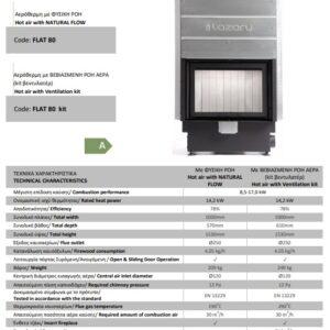 Ενεργειακό τζάκι FLAT 70 lazaru tech data